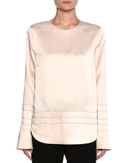 Piazza Sempione Satin Cady Bell-Sleeve Top