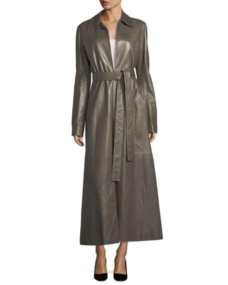 Neyton Long Leather Trenchcoat