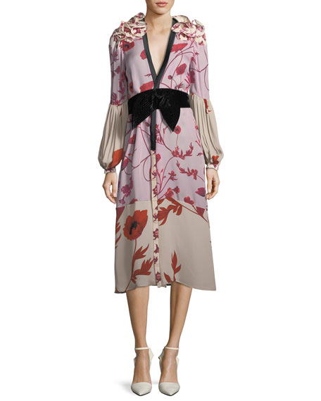 Johanna Ortiz Bellfolia Poppy-Print Silk Kimono with Velvet