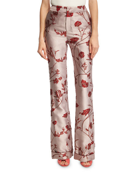 Johanna Ortiz Jacinta Rose Jacquard Boot-Cut Trousers