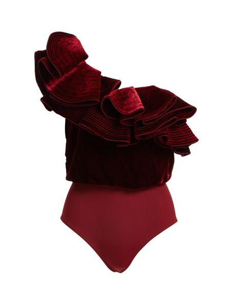 Lorca One-Shoulder Velvet Bodysuit