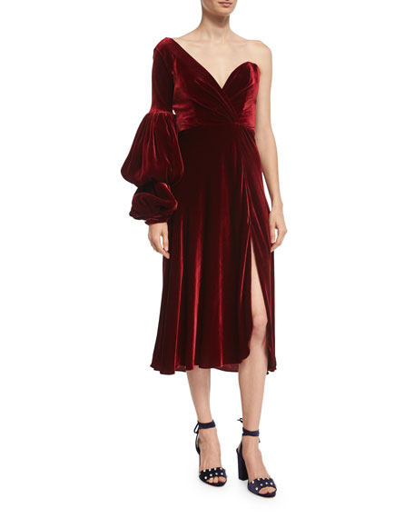 Johanna Ortiz Sabina One-Shoulder Velvet Sweetheart Dress