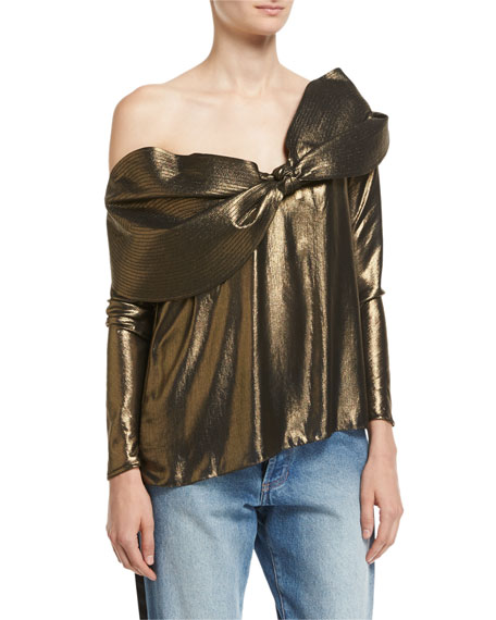 Balkana Metallic Foil Off-the-Shoulder Top