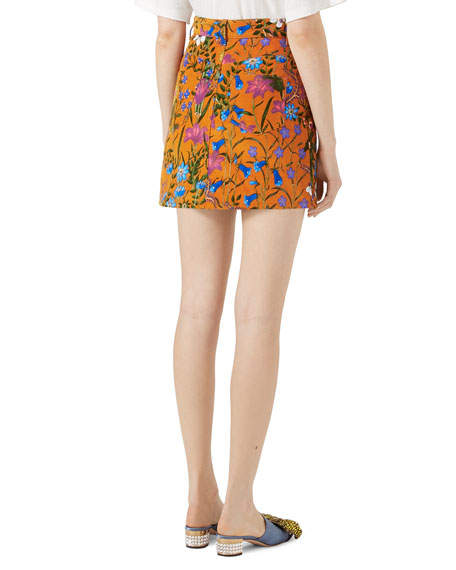 New Flora Print Mini Skirt