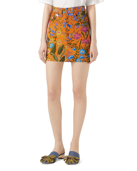 Gucci New Flora Print Mini Skirt and Matching