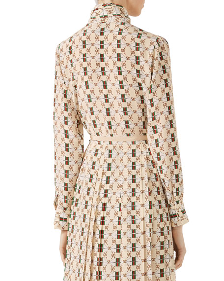 Silk Shirt with Web Kisses Print