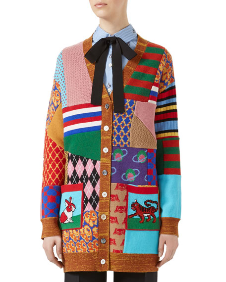 Gucci Patchwork Oversize Wool Cardigan, Multicolor