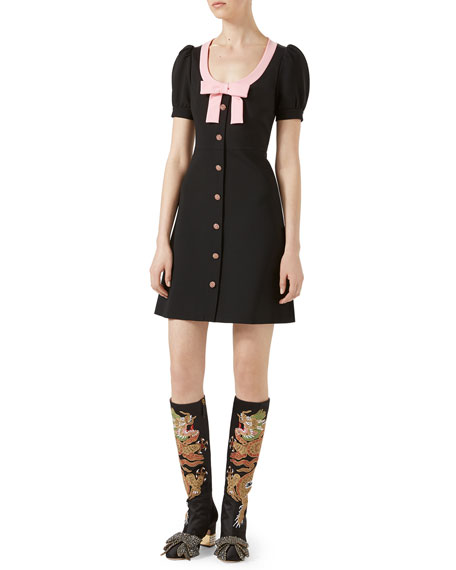 Puffed-Sleeve Button Dress with Bow, Black/Pink