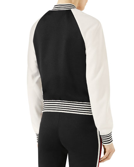 Jersey Bomber with Embroidery, Black