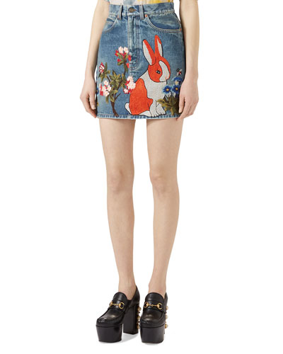 Embroidered Stained Denim Mini Skirt