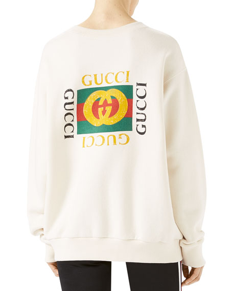 gucci tiger face oversize sweatshirt white. Black Bedroom Furniture Sets. Home Design Ideas