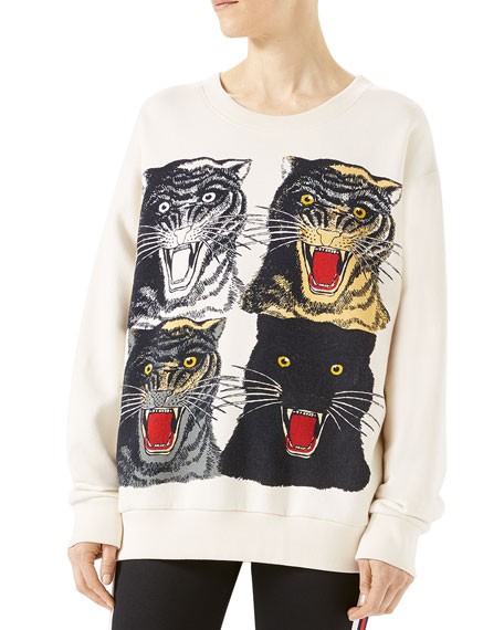 Tiger Face Oversize Sweatshirt, White