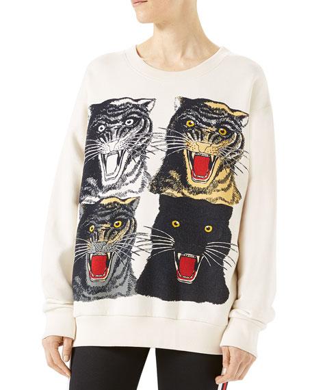 Tiger Face Oversize Sweatshirt, White