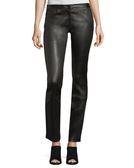 THE ROW Maddly Leather Straight-Leg Pants and Matching