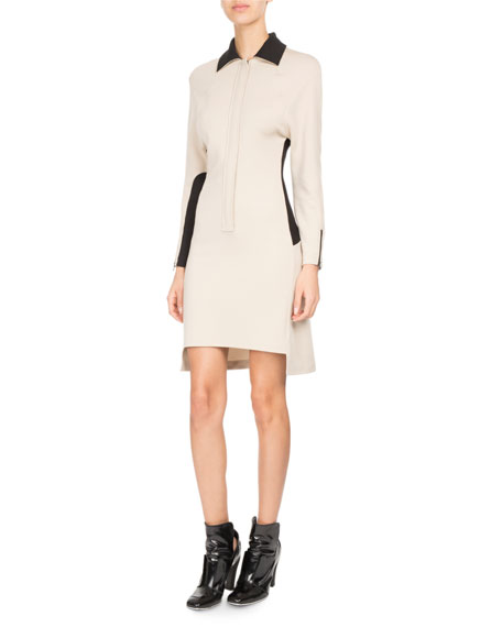 Bicolor Zip-Front Polo Dress
