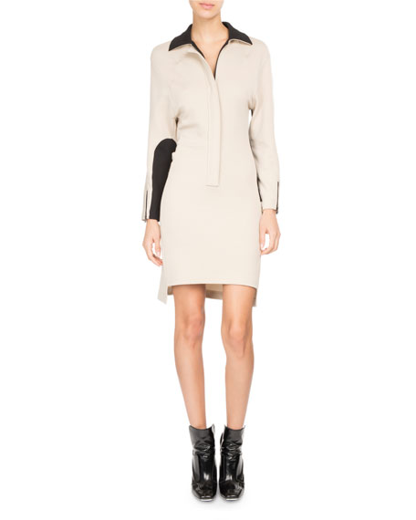 ATLEIN Bicolor Zip-Front Polo Dress in Taupe