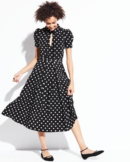 Mariella Polka-Dot Short-Sleeve Midi Dress