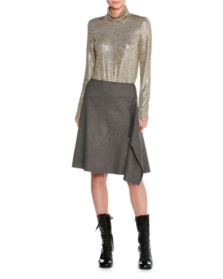 Felted Wool Asymmetric Draped Skirt