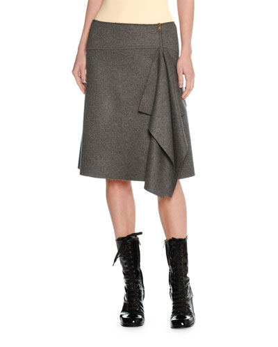 Felted Wool Asymmetric Draped Skirt