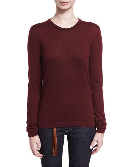 Cashmere-Blend Jersey Crewneck Sweater
