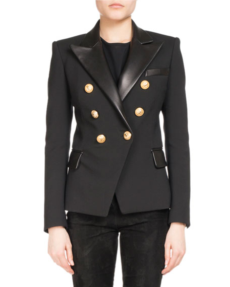 Balmain Leather-Trim Wool-Blend Blazer