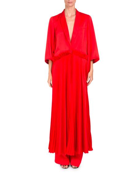 Duchesse Satin Plisse Coat Dress