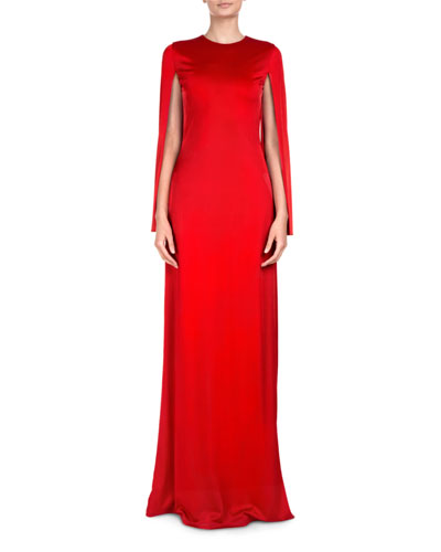 Jersey Cape-Sleeve Gown
