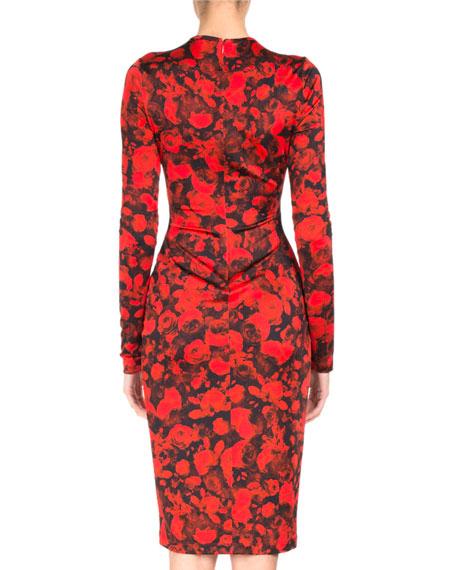 Rose-Print Jersey Pencil Dress