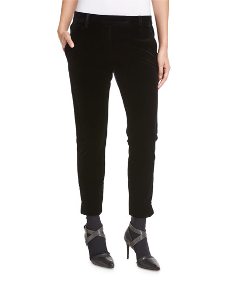 Liquid Velvet Ankle-Zip Pants