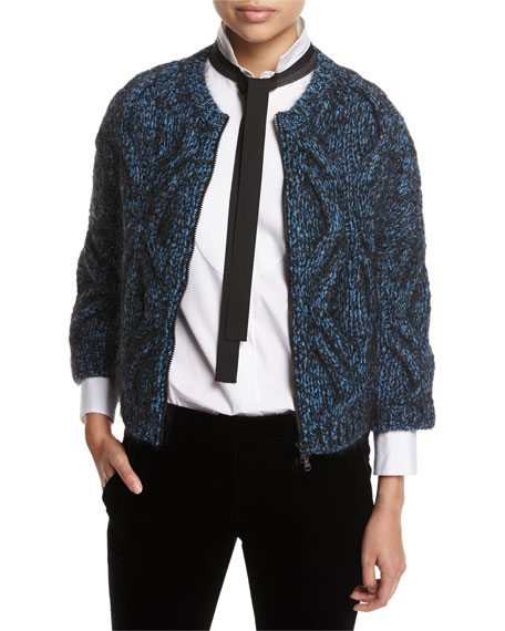 Brunello Cucinelli Cable-Knit Zip-Front Cardigan