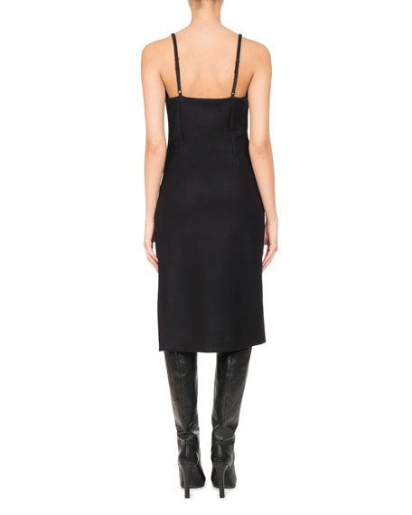Wool-Cashmere Ruched Slip Dress, Black