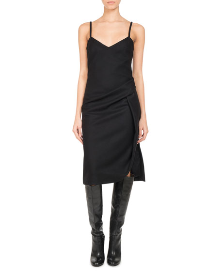 Pascal Millet Wool-Cashmere Ruched Slip Dress, Black and