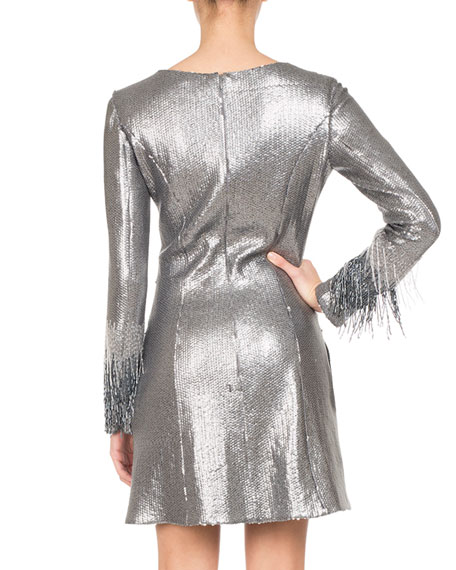 Paillette Jersey Minidress with Fringe Sleeves, Silver