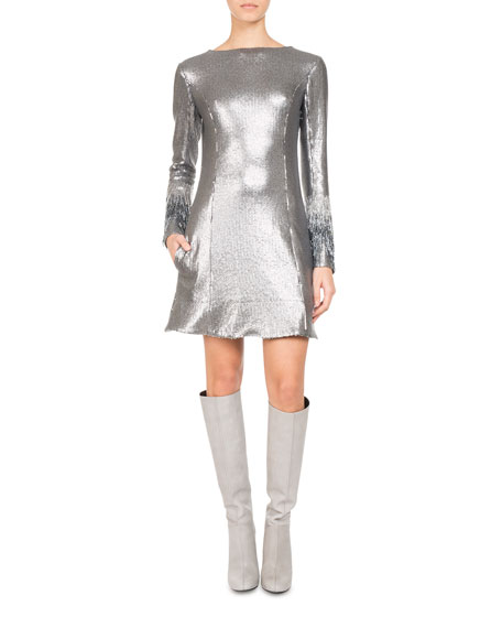 PASCAL MILLET Paillette Jersey Minidress With Fringe Sleeves, Silver