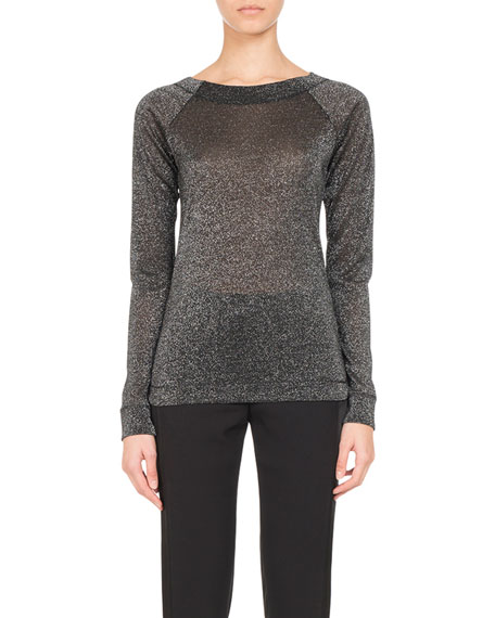 Metallic Jersey Long-Sleeve Top, Silver
