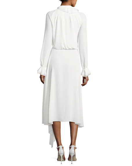 Long-Sleeve Tie-Neck Midi Dress