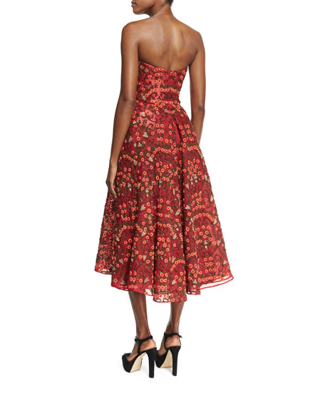 Floral-Embroidered Strapless Cocktail Midi Dress