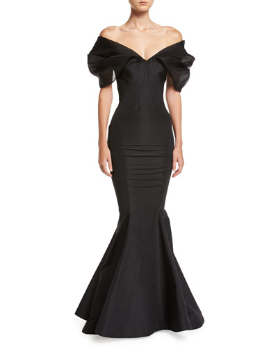 Puff-Sleeve Silk Mermaid Gown