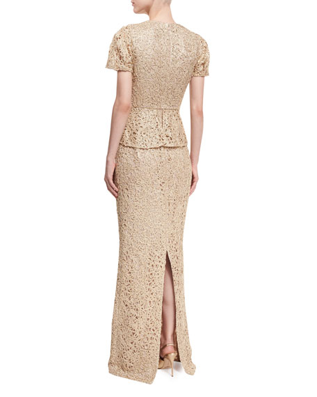 Short-Sleeve Lace Peplum Gown