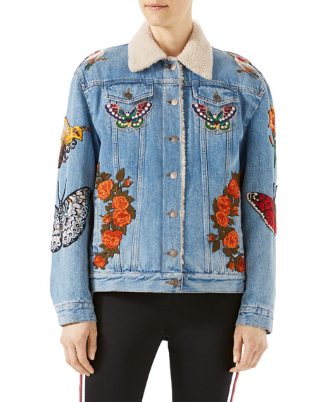 Gucci Embroidered Denim Jacket with Shearling Fur Lining,