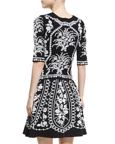 Floral-Embroidered Fit & Flare Dress