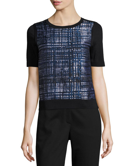 Escada Tweed-Print Jacquard Knit Top
