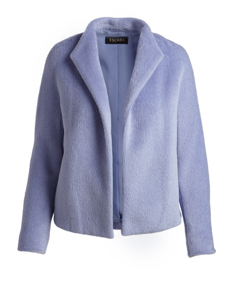 Alpaca-Wool Open-Front Jacket
