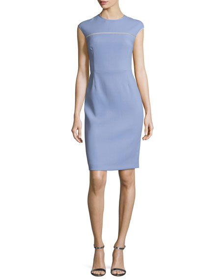 Cap-Sleeve Virgin Wool Crepe Sheath Dress, Lilac