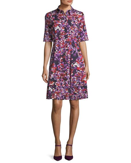 Carolina Herrera Floral-Print Elbow-Sleeve Shirtdress