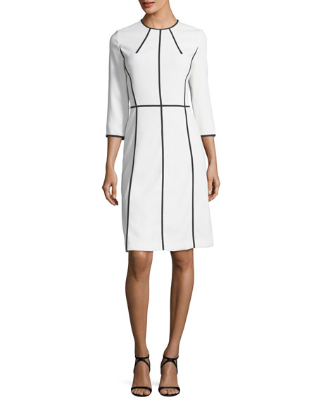Escada Contrast-Seam Virgin Wool Crepe Dress