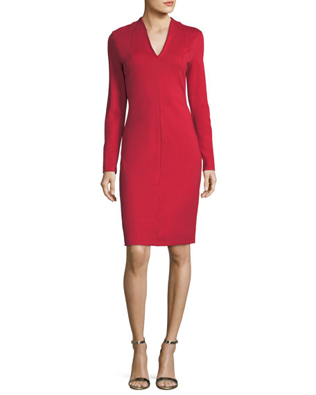 Italian Jersey V-Neck Sheath Dress
