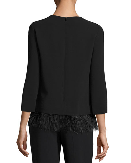 Feather-Hem 3/4-Sleeve Crepe Top
