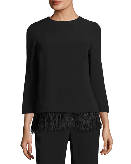Escada Feather-Hem 3/4-Sleeve Crepe Top and Matching Items