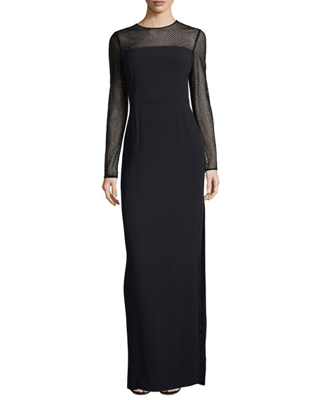 Escada Mesh-Yoke Long-Sleeve Gown
